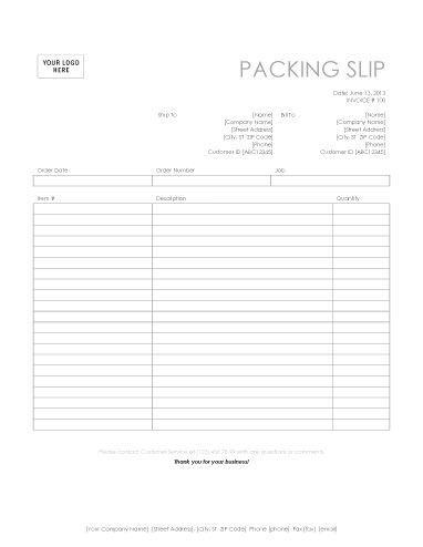 Basic Packing Slip For Word  Packing List Template
