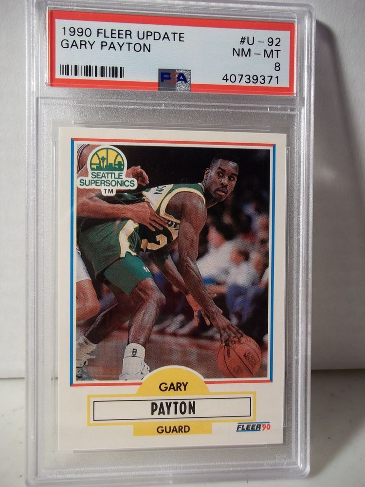 1990 fleer gary payton rookie psa nmmt 8 basketball card