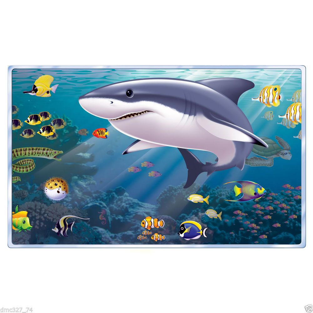 details about luau underwater view party decoration prop wall details about luau underwater view party decoration prop wall mural shark jaws shark week