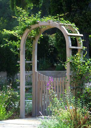 Arbor With Gate More Ideas With Images Garden Arches Wooden