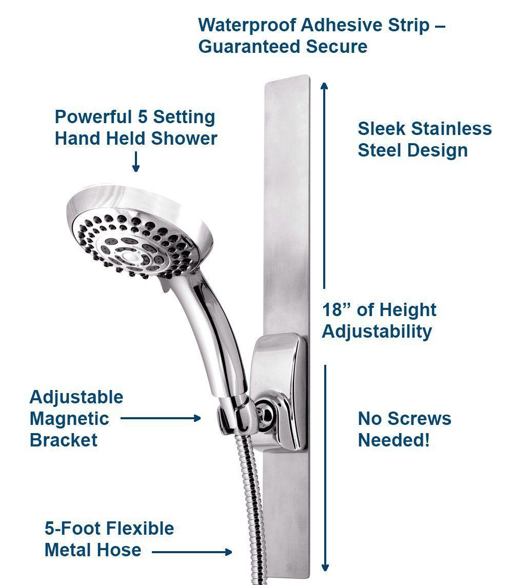 Waterpik Vss 563mt Series Magnetic Slide Strip Adjustable Height Shower Head Chrome Amazonsmile Flexible Metal Hose Steel Design Waterpik