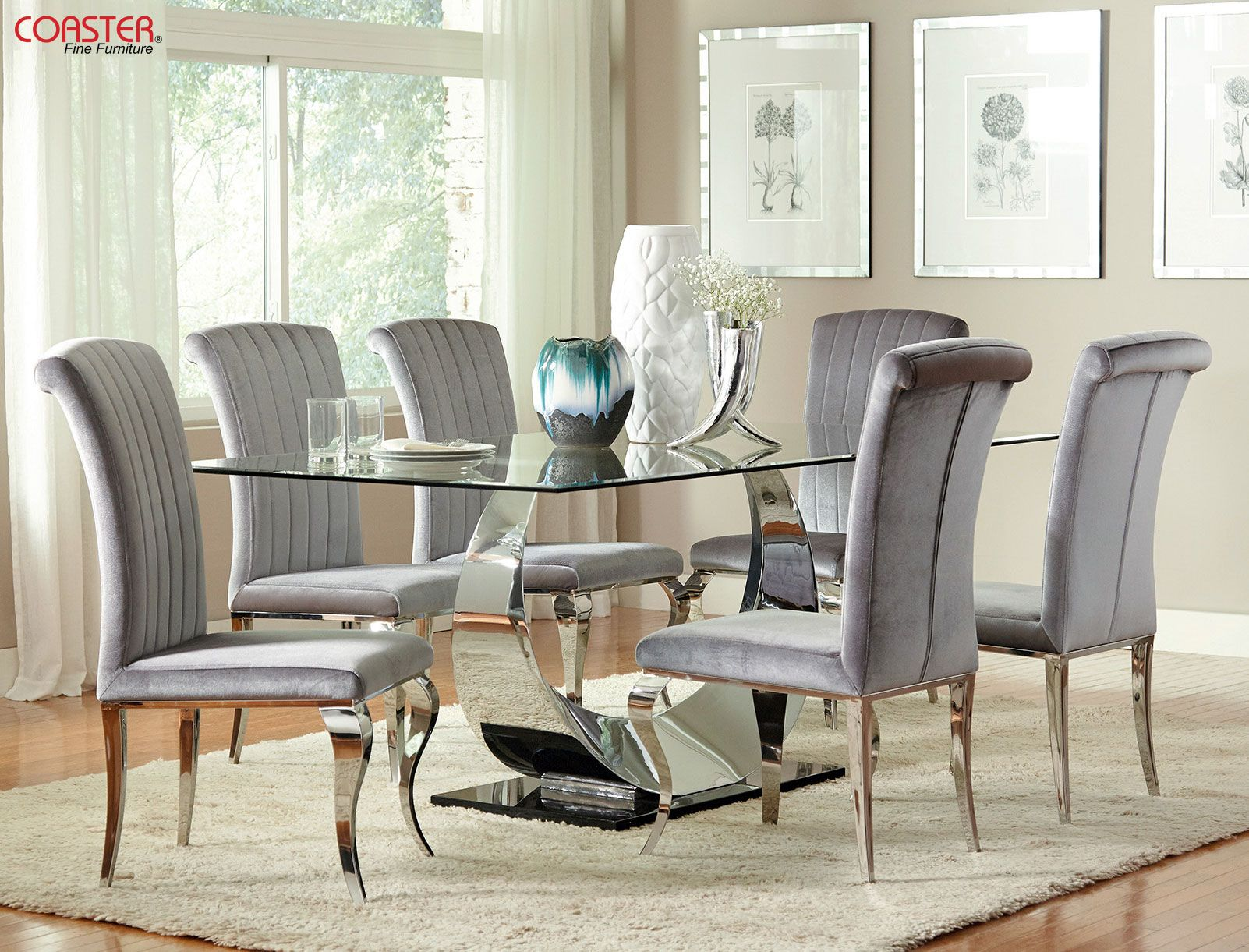 A Mix Of Elegant Modern And Timeless Design The Manessier Collection Is The Statement Set That Y Metal Base Dining Table Dining Table Cheap Dining Room Sets