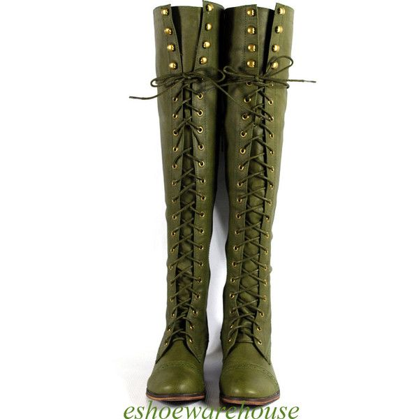 9ad33237df7 army green knee high boots ❤ liked on Polyvore featuring shoes ...