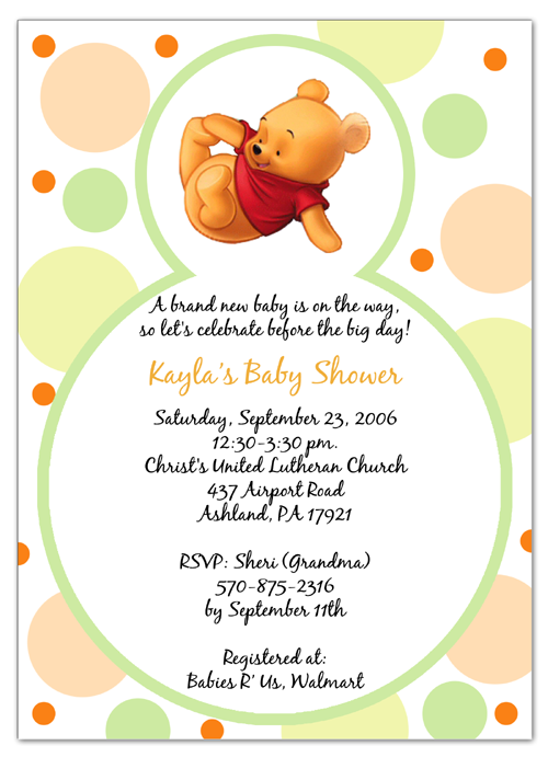 winnie the pooh baby shower invitations templates  winnie the, invitation samples