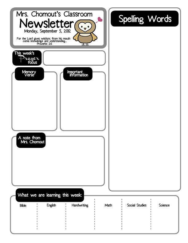 Weekly Newsletter For 1st Grade Class Class Newsletter Template