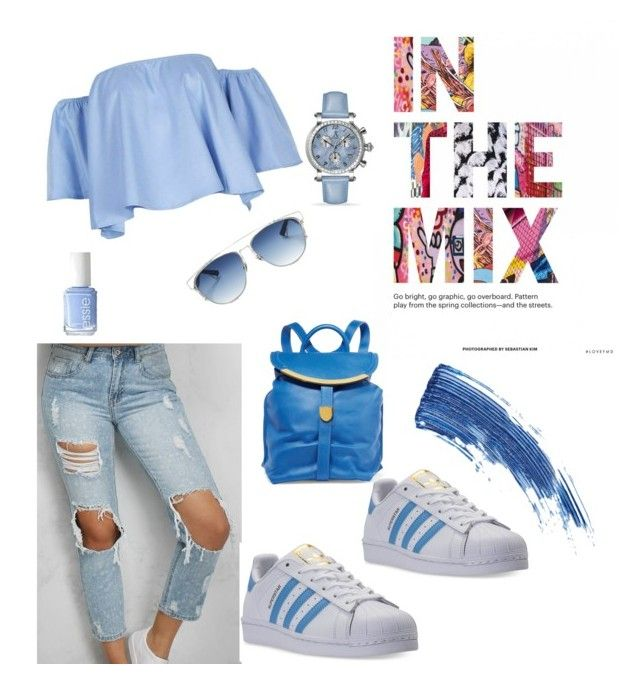 """""""love blue 💙"""" by aggeliki27796 ❤ liked on Polyvore featuring Rare London, adidas, See by Chloé, Christian Dior, Allurez, Essie and Eyeko"""