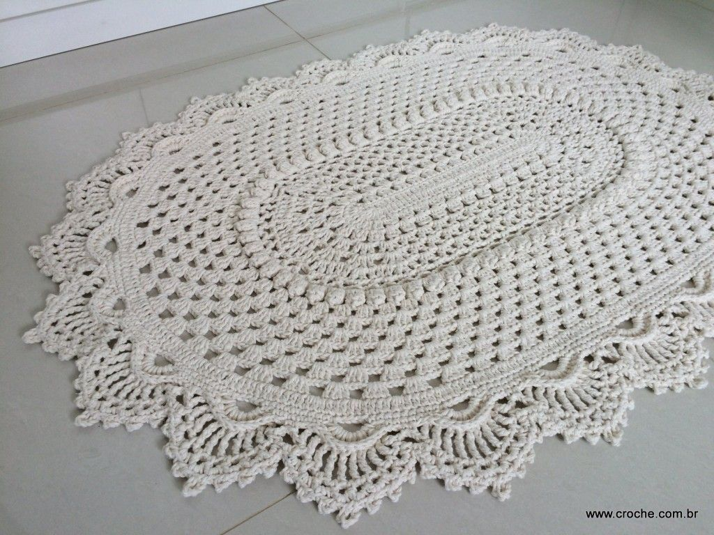 Tapete Russo Modelo 2 Meu Ch Pinterest Crochet Crochet  -> Tapete De Croche Oval Simples Passo A Passo