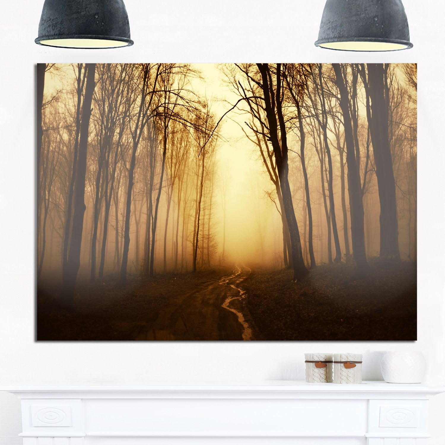 Road in Forest with Fall Fog - Landscape Photo Glossy Metal Wall Art
