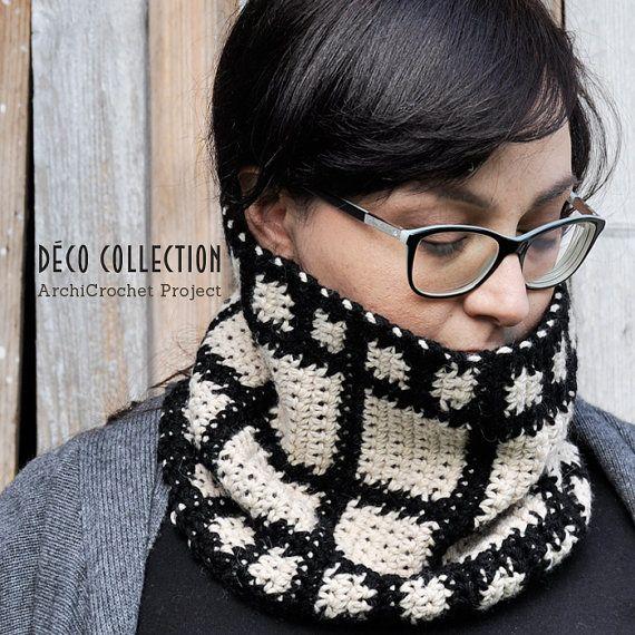 Cowl scarf snood, hooked neck warmer, handmade snood, italian scarf, chunky scarf tapestry crochet