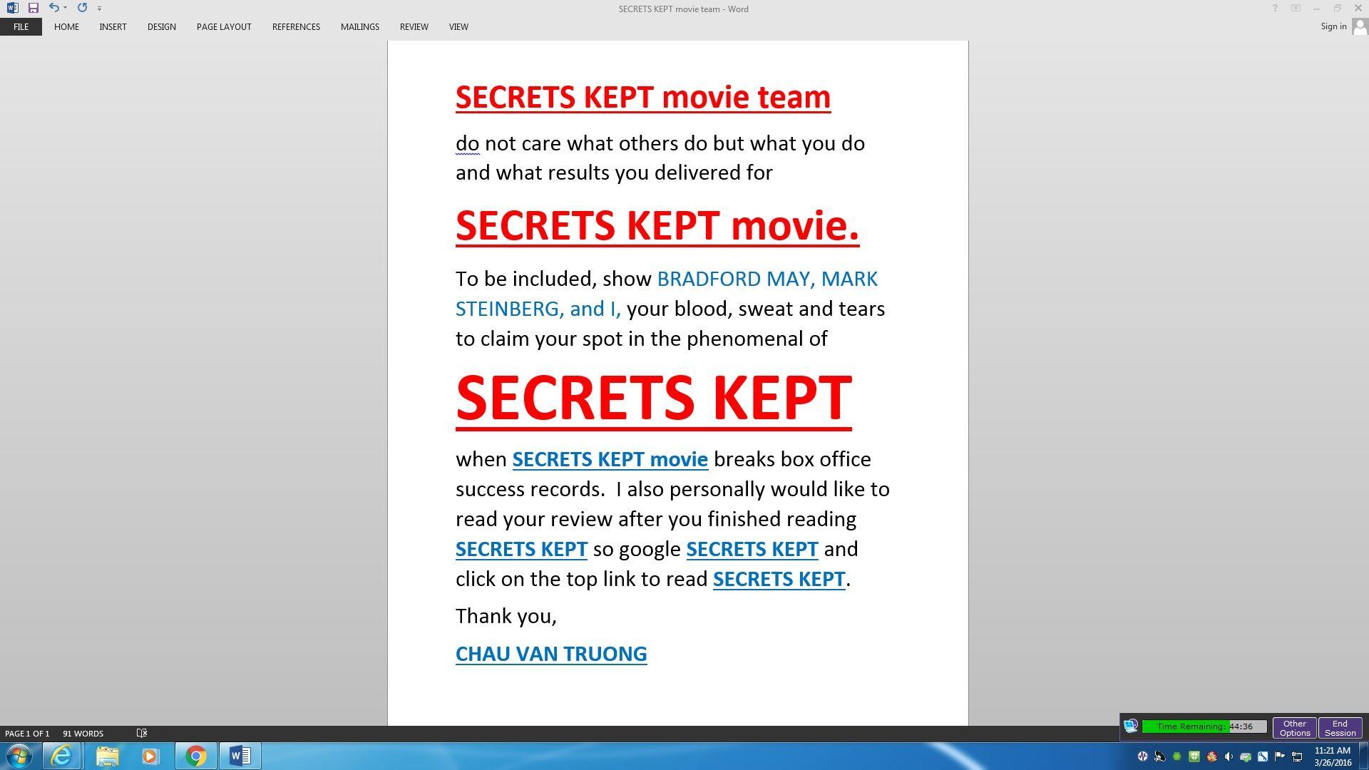Read story of SecretsKept by clicking here SECRETS KEPT
