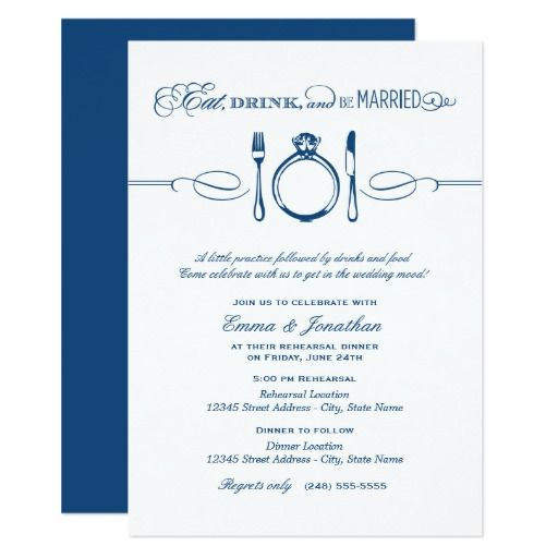 Navy Rehearsal Dinner | Eat Drink And Be Married Card. Zazzle  InvitationsWedding ...