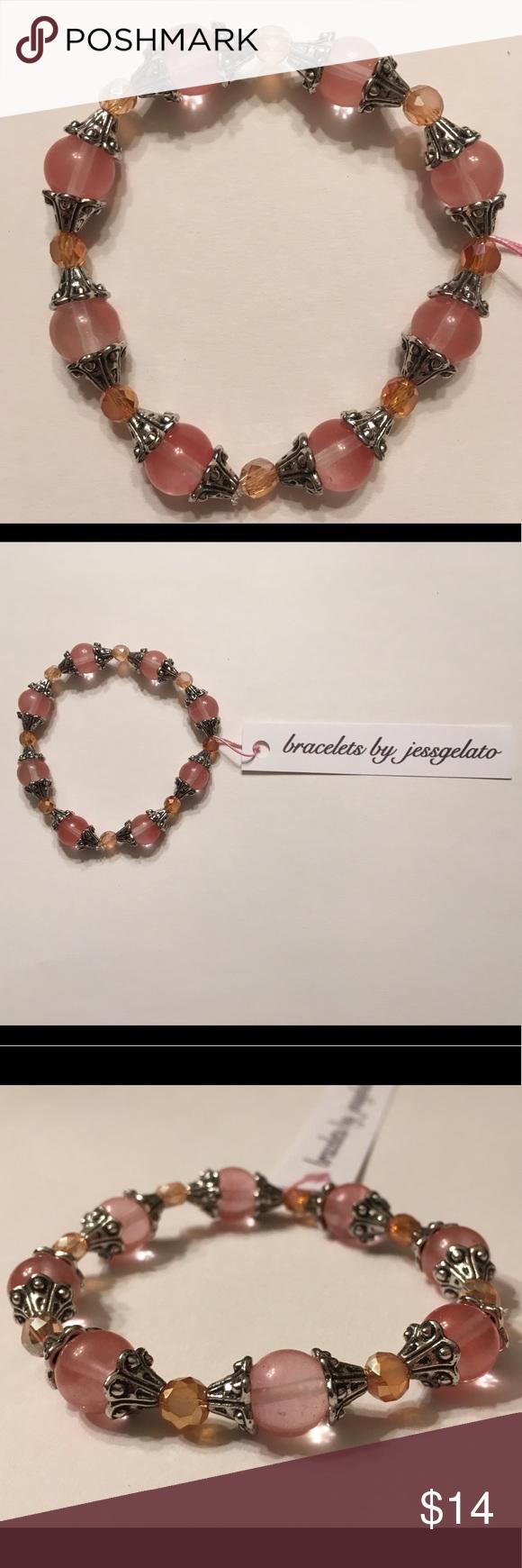 Handmade salmon colored beaded bracelet NWT Beaded