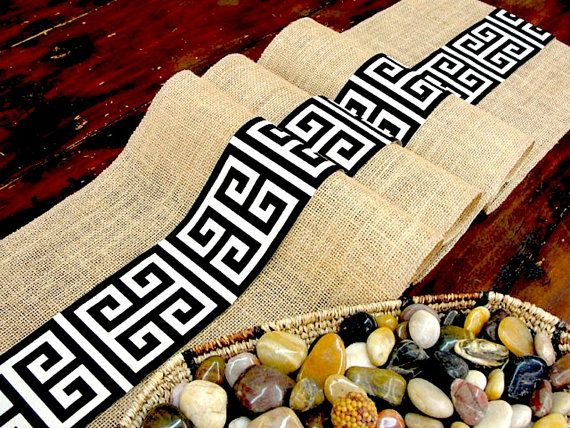 I just found this shop and what beautiful table linens!!!  Burlap table runner Rustic wedding table runner by HotCocoaDesign, $27.00