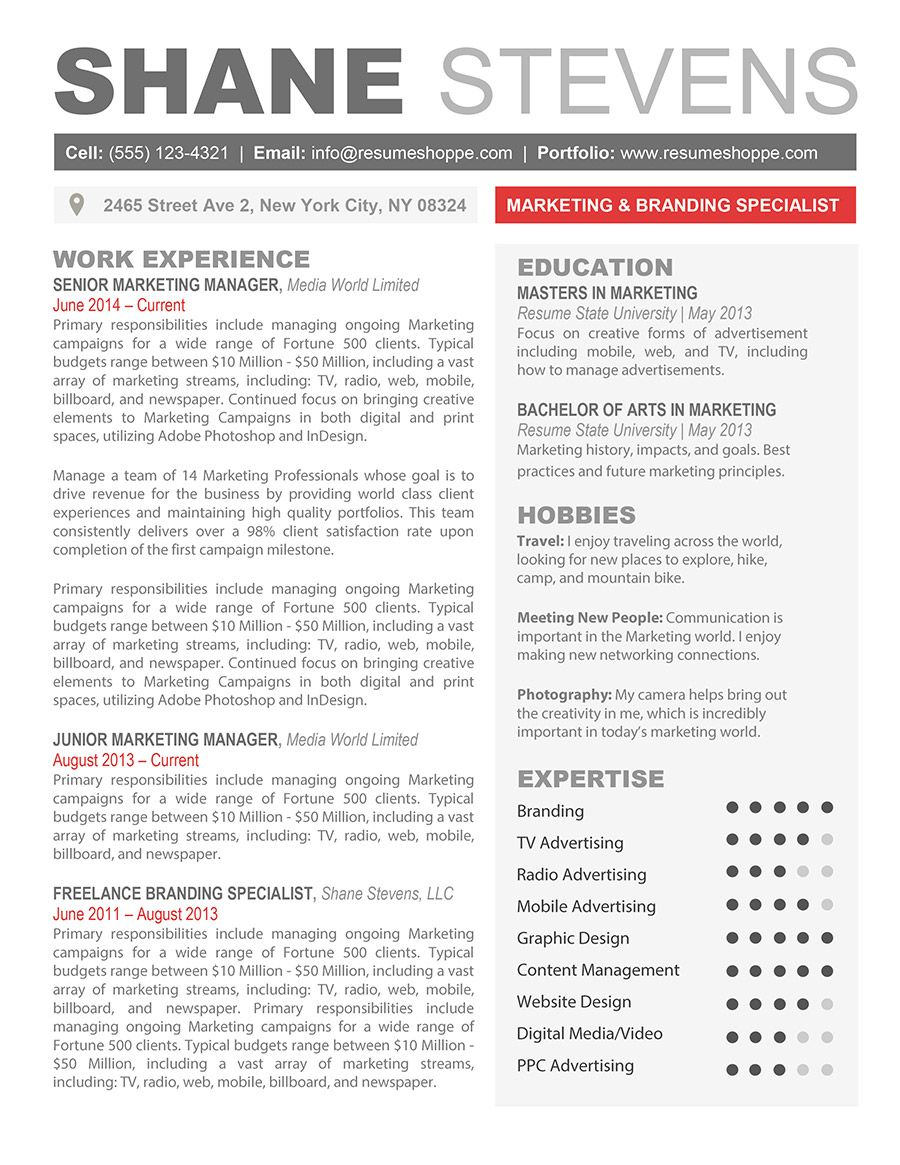 The Shane Resume Creative Resume Template For Word Resume Templates Resume Resume Examples