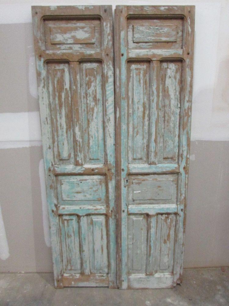 Antique Pair Mexican Old-Primitive-Rustic-39x79-Barn Doors-Pine-Turquoise   Vintage Bedroom Furniture, Old Barn Doors, Wood Doors Interior