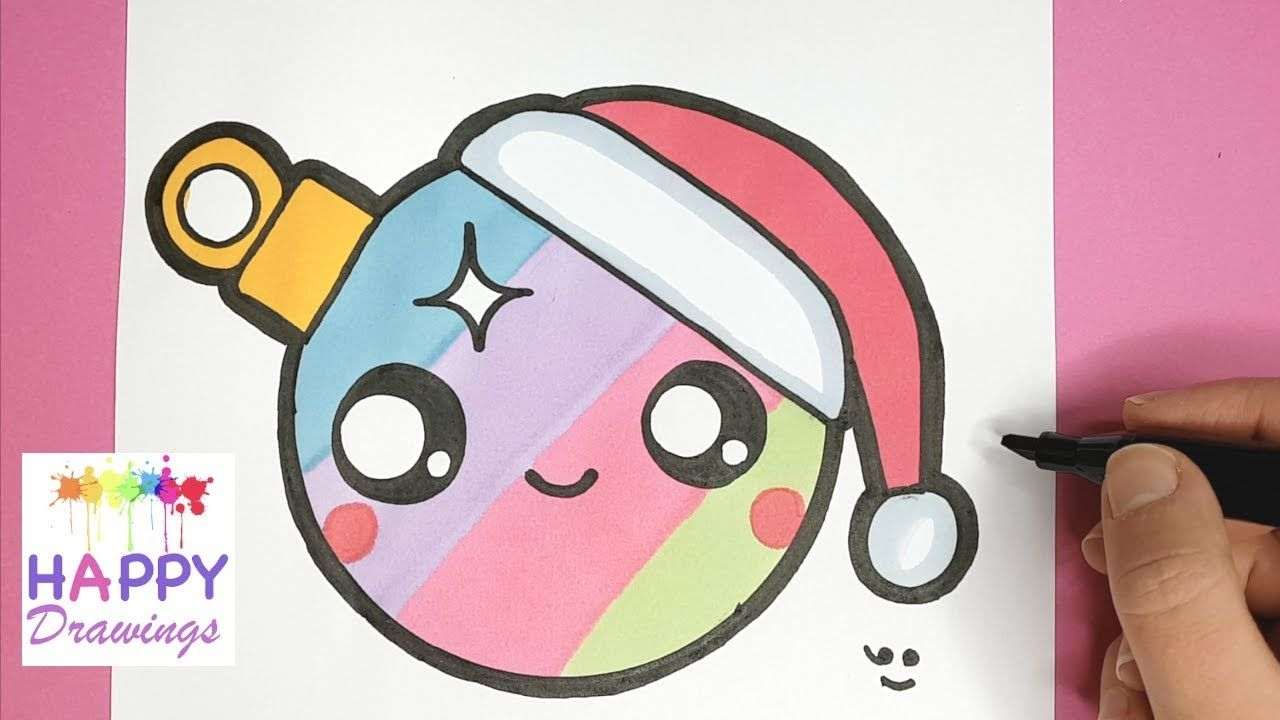 How To Draw A Colorful Christmas Ornament Easy And Cute Easy Drawing Tutorial Youtube Drawing Videos For Kids Drawing Tutorial Easy Happy Drawing