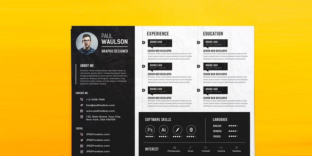 Creative Horizontal Cv Resume Template Psd  Ultimate Collection