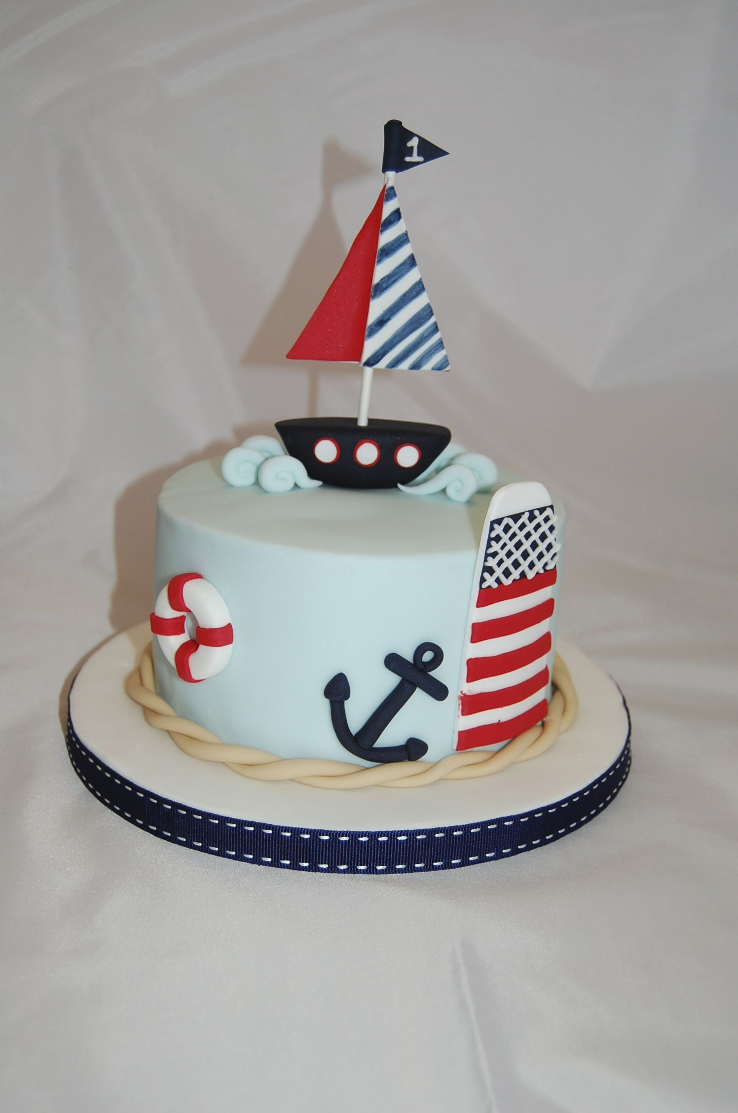 Boys first Birthday Cake boat nautical wwwskcakescouk Party