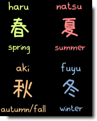 estações do ano em japonês