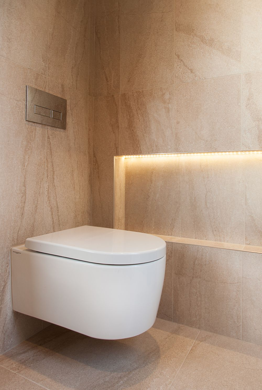 recessed niche with led lighting | wall hung hidden cistern toilet ...