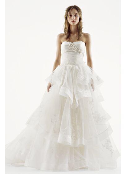 Weiß von Vera Wang Liebsten Tüll Brautkleid Stil VW351197, Elfenbein, 10