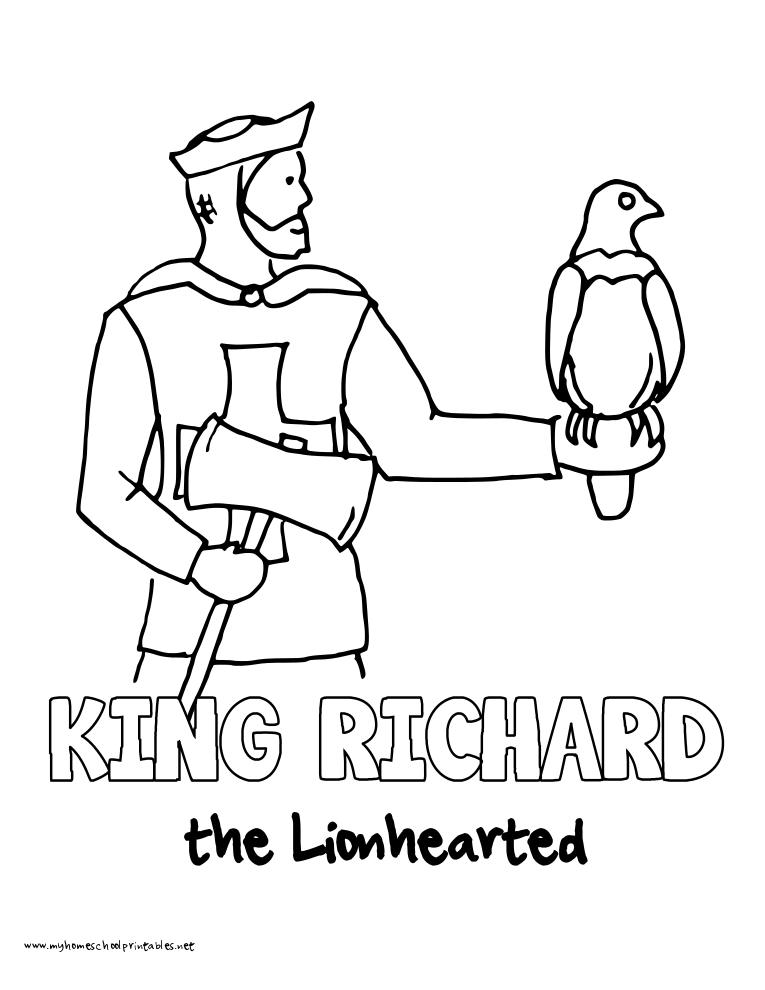 World History Coloring Pages Printables King Richard The Lionheart