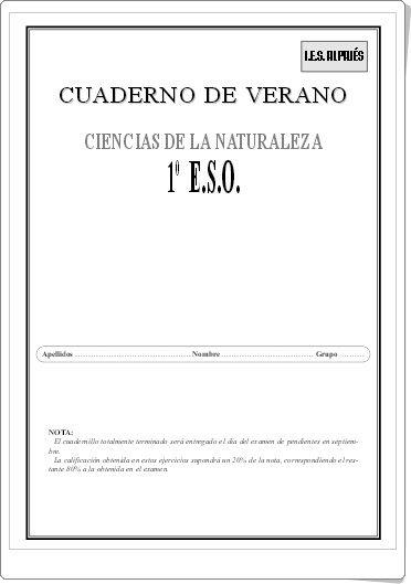 Cuaderno De Verano De Ciencias De La Naturaleza De 1º De Eso Ciencias De La Naturaleza Profesor De Biología Ciencia