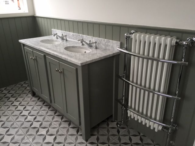 Double Vanity Unit In Charleston Grey With A Carrara Marble Top Aspenn Furniture Make Bespoke Vanity Units From Double Vanity Unit Vanity Units Double Vanity