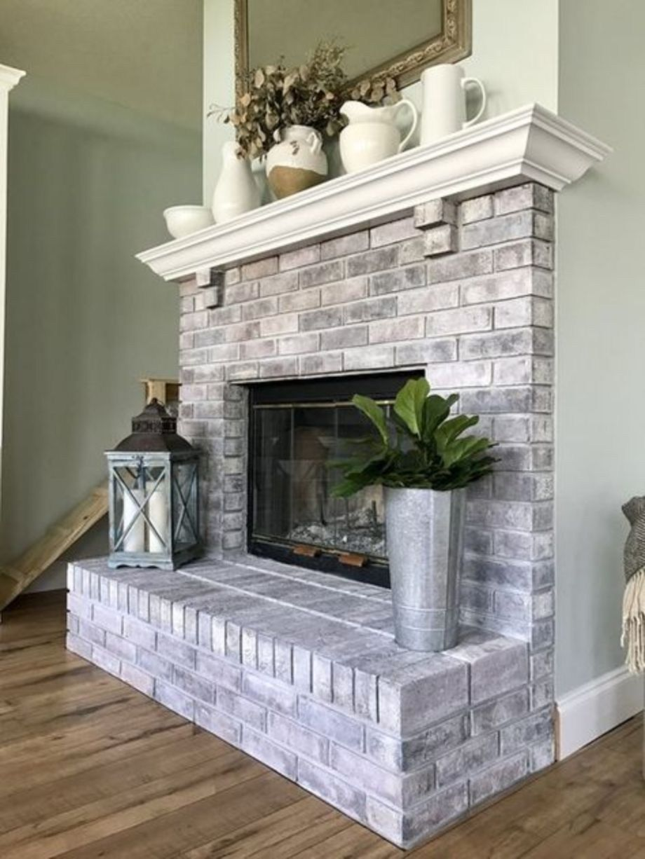 Modern Rustic Painted Brick Fireplaces Ideas 11 Toboto Net With