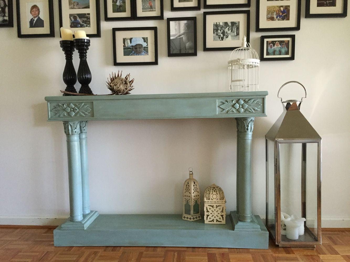 Elegant Hall Table Refinished In Annie Sloan U0027Duck Egg U0026 Dark Waxu0027 By Www
