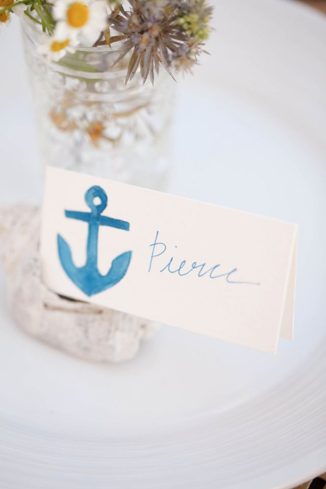 Nautical wedding place card | V.A. Photography | http://burnettsboards.com/2013/12/tips-photographing-wedding-details/