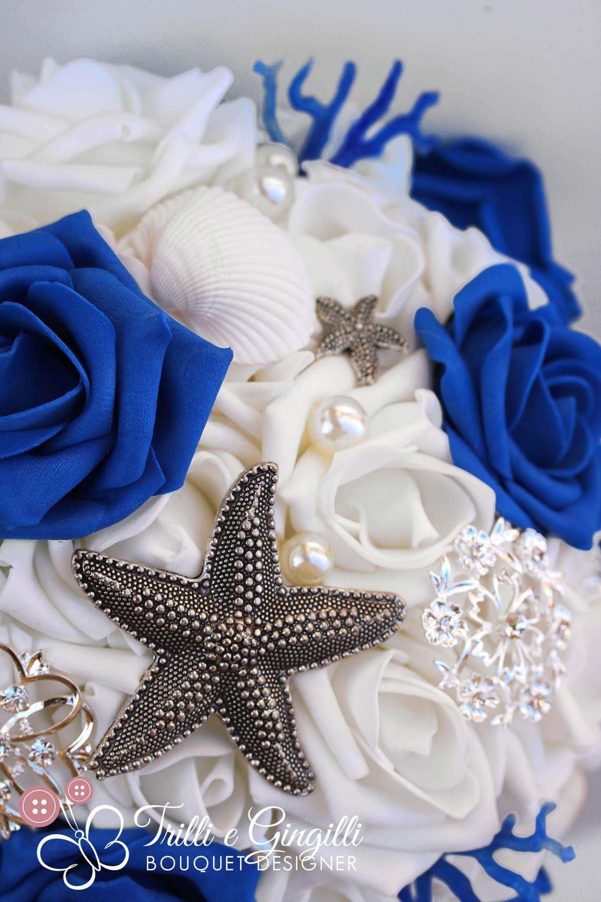 Bouquet Sposa Mare.Bouquet Sposa Gioiello Blu Stelle Marine Coralli Conchiglie