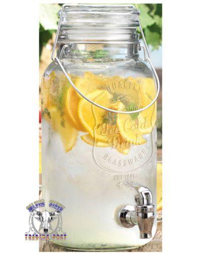 Bail Trigger Mason Jar 1 Gallon Sun Iced Sweet Tea Beverage Dispenser New WOW   eBay