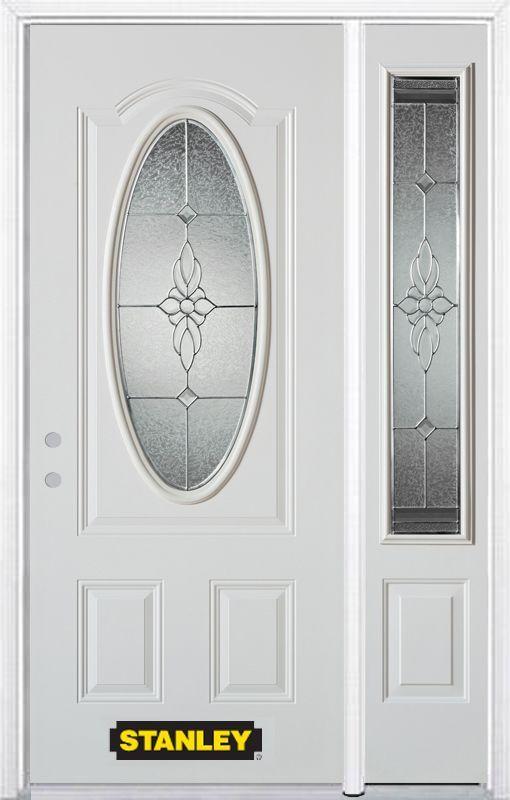 50 25 Inch X 82 375 Inch Victoria Brass 3 4 Oval Lite 2 Panel Prefinished White Right Hand Inswing Steel Prehung Front Door W Front Door Paneling Stanley Doors