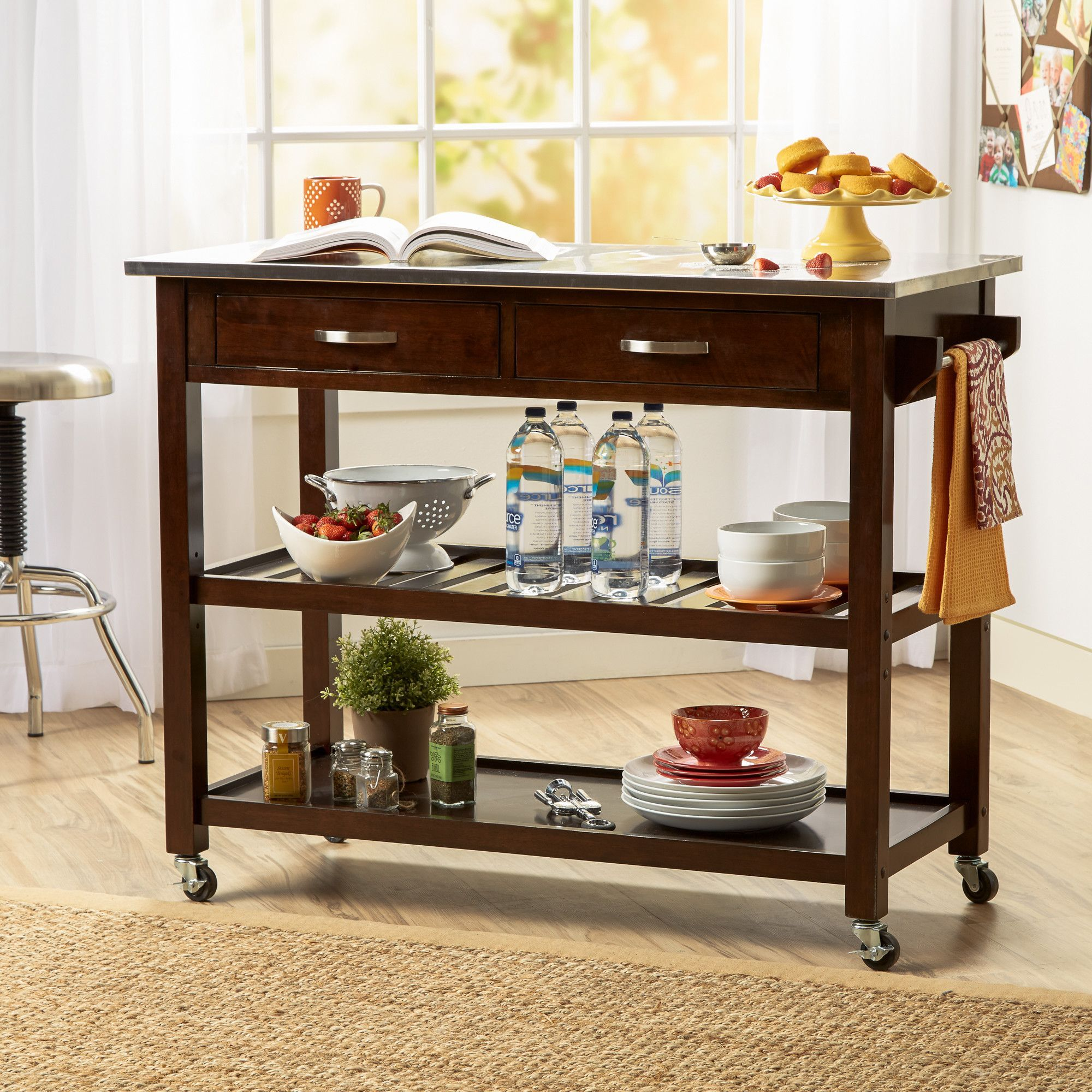 Castleton Home Kitchen Island Cart With Stainless Steel