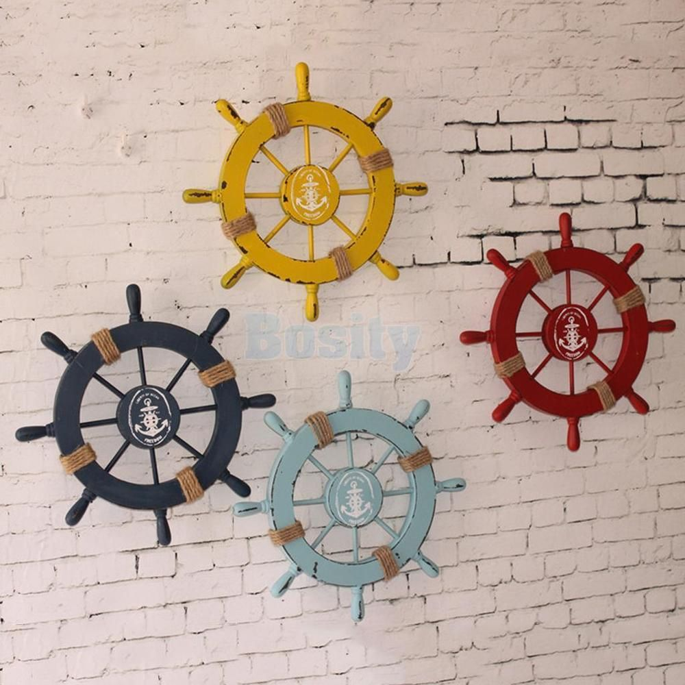 Nautical Wooden Anchor Boat Pirate Ship Wheel Wall Hanging Plaque Pub Bar Decor Unbranded Hanging Wall Decor Nautical Wall Hanging Marine Decor
