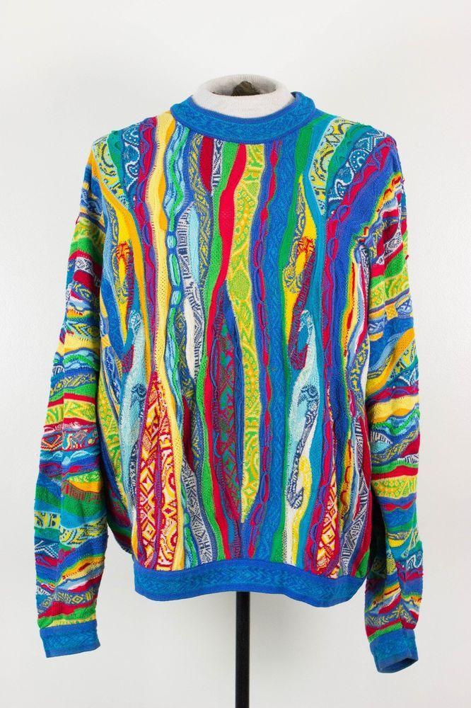 Vintage COOGI Mens XL Mercerized Cotton 3D Colorful Hip Hop Biggie Cosby Sweater #COOGI #Crewneck