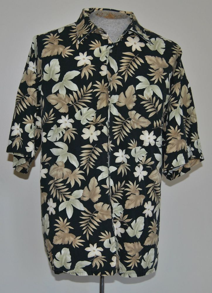 ede113a1 Men's Size 3XL Campia Moda Black With Floral Print Hawaiian Shirt 100%  Cotton