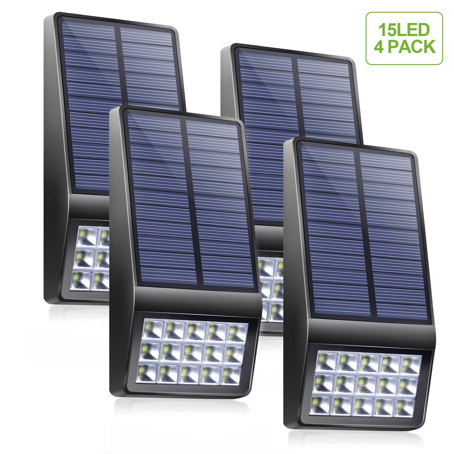 Solar Lights Outdoor 4 Pack  Xinree 15 Led Super