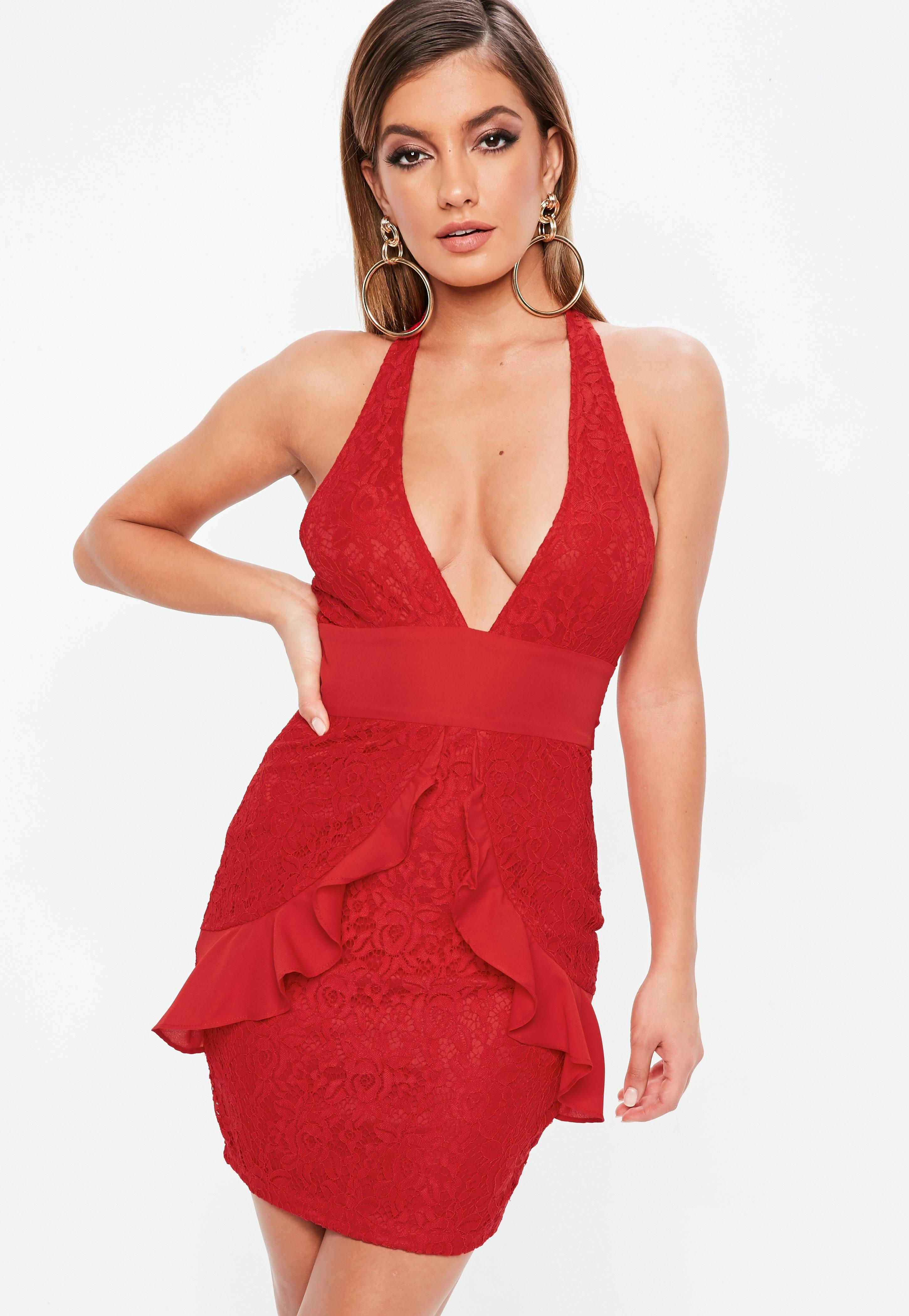c0dceb85ff35 1/18/19 Brand/Designer: Missguided Material: Polyester Dress Silhouette: Bodycon  Neckline: Halter Plunging Neck Embellishments: Lace Closure/Back: Hidden ...