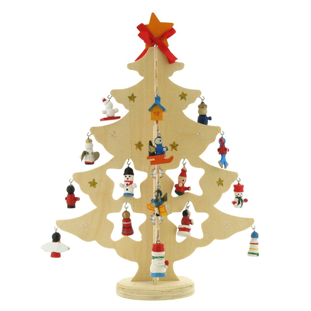 Natural Wooden Tree With 24 Ornaments Alternative Christmas Tree Stationery Supplies Hanging Ornaments