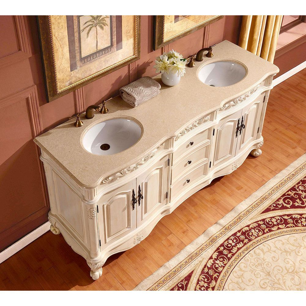 Silkroad Exclusive 72 Inch Crema Marfil Marble Stone Top Bathroom