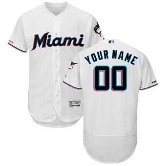 4ed5bcadf Miami Marlins Majestic Home 2019 Authentic Collection Flex Base Custom  Jersey – White