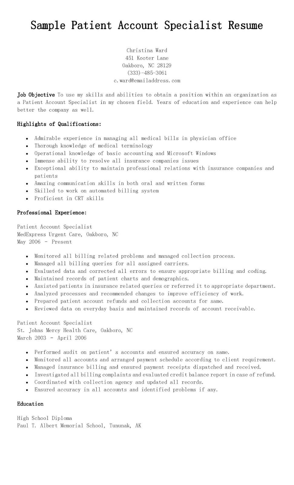 Sample Patient Account Specialist Resume Resame Pinterest