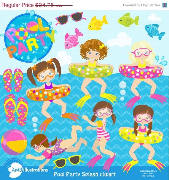 80OFF Girl Pool Party Swimming Clipart By AMBillustrations