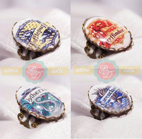 Hogwarts House Rings Etsy Harry Potter Ring Potter White Diamond Ring
