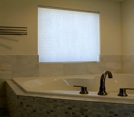 signature series cellular shade featuring custom tile cut out