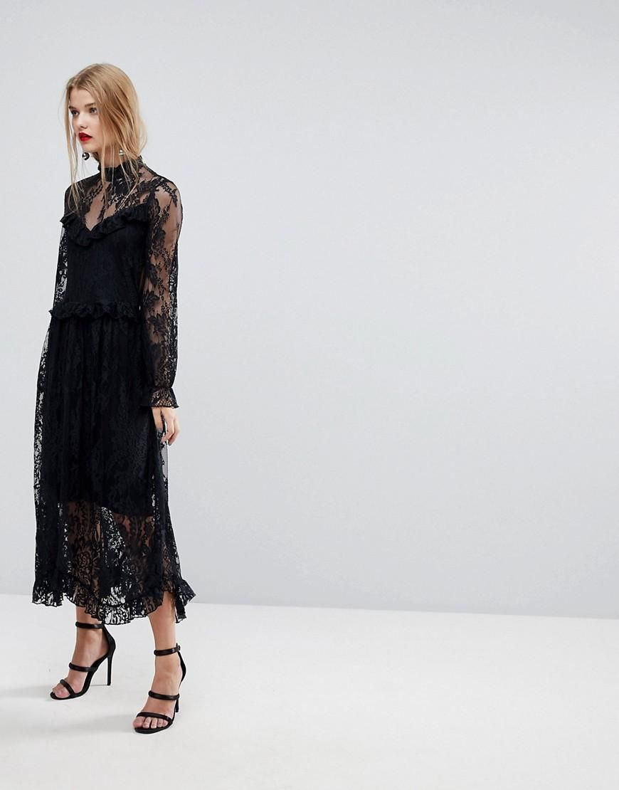 Lace Dress With Ruffle Detail - Black Y.A.S. Tall XJaQJ7Fo0w