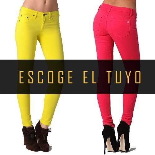 190a22d0a Pantalon Jeans Gabardina Elastizado Chupin Mujer Color