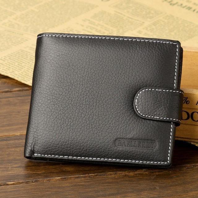 Fashionable Design Male Men Cool Leather Wallet Black Card Clutch Purse Bifold Money Clip Short Type Money Wallet-Black-1 Size